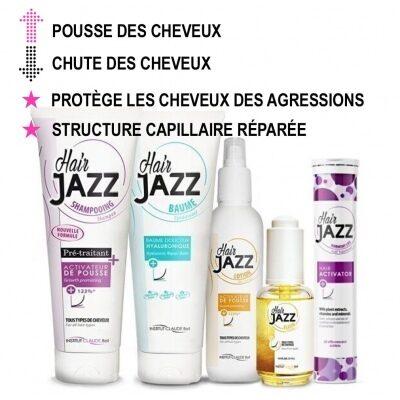 Hair Jazz Shampooing, Lotion, Baume hyaluronique, Élixir et Activateur de pousse des cheveux