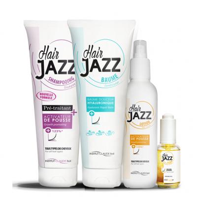 HAIR JAZZ Shampooing, Lotion, Baume hyaluronique et Élixir - pour la pousse des cheveux!