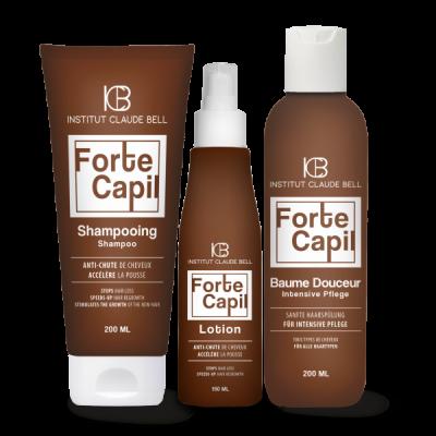 FORTE CAPIL Shampooing, lotion et baume - réduisent la perte de cheveux androgénétique ou hormonale